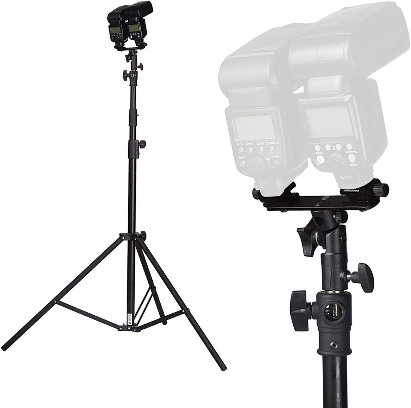 RangerRider Dual Flash Bracket Hot Shoe Speedlight Stand Umbrella Holder with 1//4 to 3//8 Adapter Screw for Studio Video Nikon Yongnuo Flash