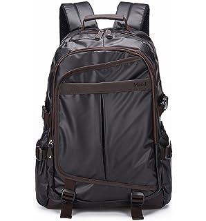 Maod Hombre Negocios Mochila Portátiles Estilo Retro mochilas escolares Cuero Bolsa de escuela Impermeable laptop backpack
