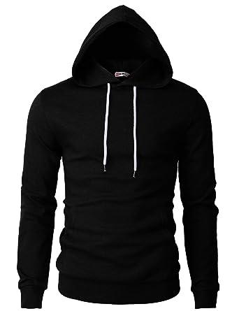 d2e999cbd3 H2H Mens Basic Slim Fit Long Sleeve Hoodie Sweatshirts Black US S/Asia M (