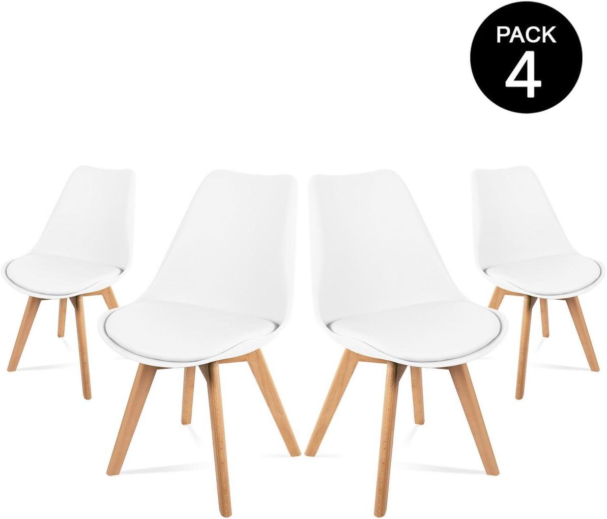 Mc Haus LENA - Pack 4 sillas Blancas Tulip Comedor oficina, Sillas Madera nórdicas con patas de madera y Asiento Acolchado suave, respaldo ergonómico 83x49x53,5cm
