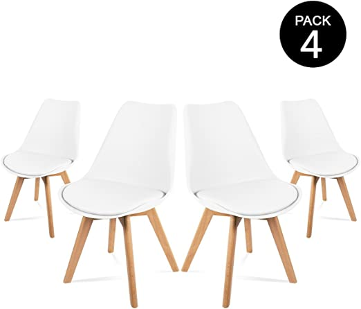 Mc Haus LENA - Pack 4 sillas Blancas Tulip Comedor oficina, Sillas Madera nórdicas con patas de madera y Asiento Acolchado suave, respaldo ergonómico, Blanco, 83x49x53,5cm: Amazon.es: Juguetes y juegos