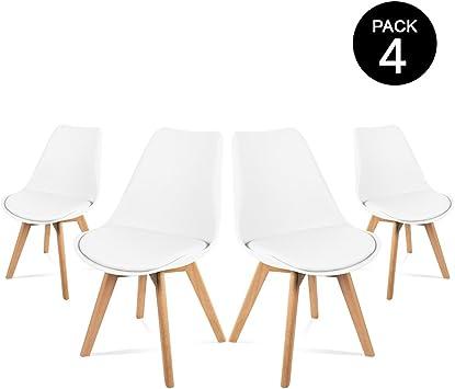 Mc Haus LENA - Pack 4 sillas Blancas Tulip Comedor oficina, Sillas ...