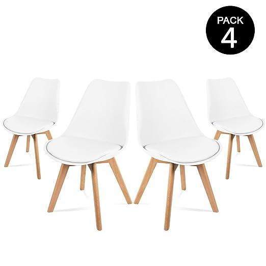 Mc Haus Lena Blanca X4 Pack 4 Sillas, Madera/Acero/Polipropileno, 53.5x49x83 cm, 4 Unidades