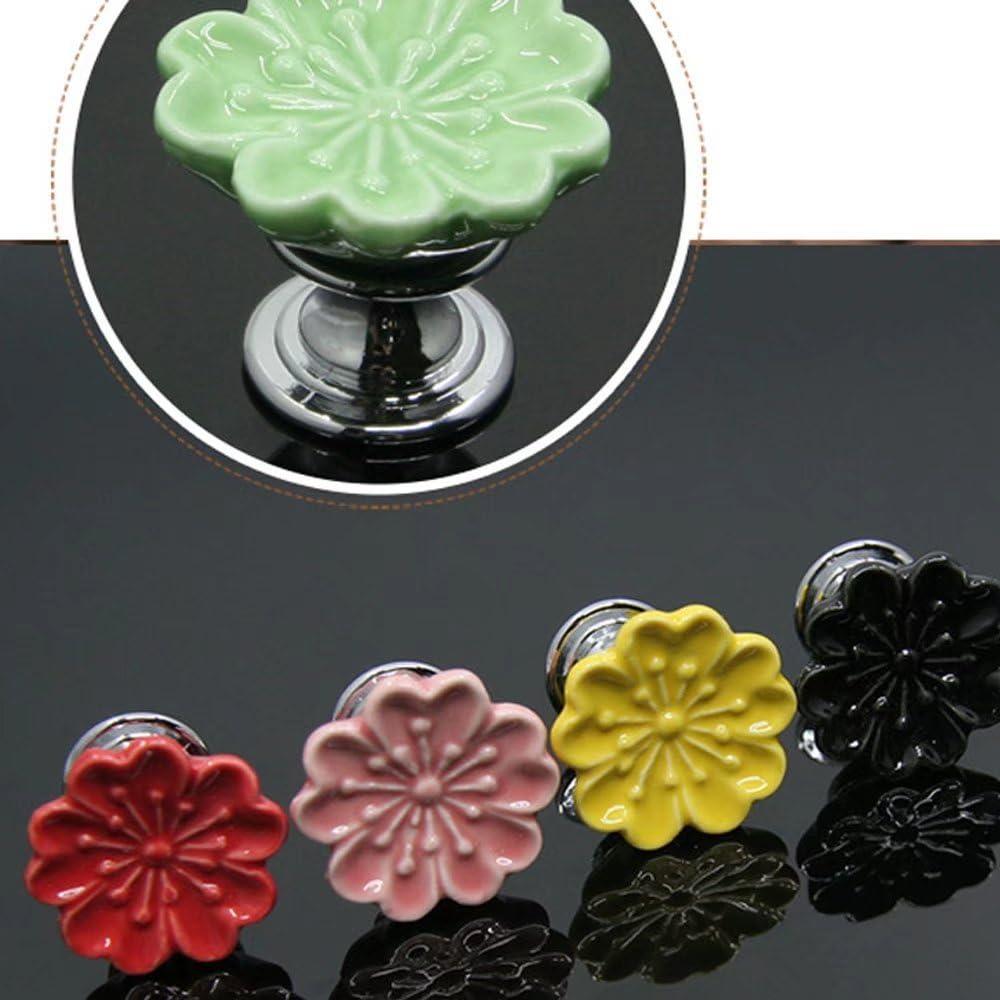 Dresser Knobs Furniture Hardware Cabinet/Closet Kitchen Knob CSKB Set of 7 Ceramic Flower Drawer Knobs Knobs for Kids Home Office DIY 32mm