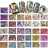 44 sets Bohemian flower child hippie NAIL DECALS Tie dye Retro rainbow trippy hippy psychedelic NAIL TATTOOS water transfer sugar skull nail tips hippy rock nail wraps anime cosplay costume french tip