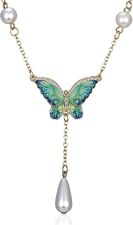 GLLFC Collar Diseño único Cristales austriacos Multicolores Pintura al óleo Perla Mariposa Colgante Collar Regalos para Mujeres Regalos para Mujeres Hombres
