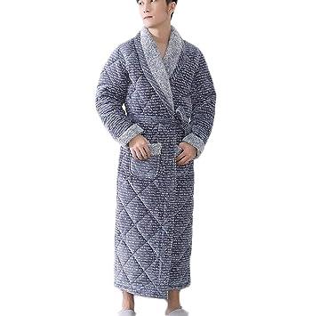 PFSYR Batas de Hombre, camisón de Bata de baño de Franela de Invierno, Pijamas de Hombre, cómodos y Casuales (Color : Gray, Tamaño : L): Amazon.es: Jardín