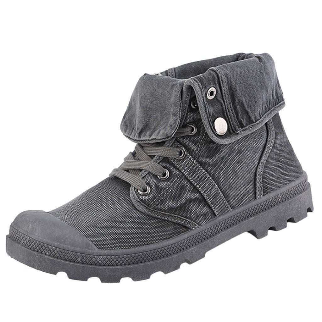Men's High-top Canvas Shoes,Frunalte Fashion Casual Thick Bottom Bootie Ankle Boots Outdoor Shoes Gray by Frunalte Men Shoes