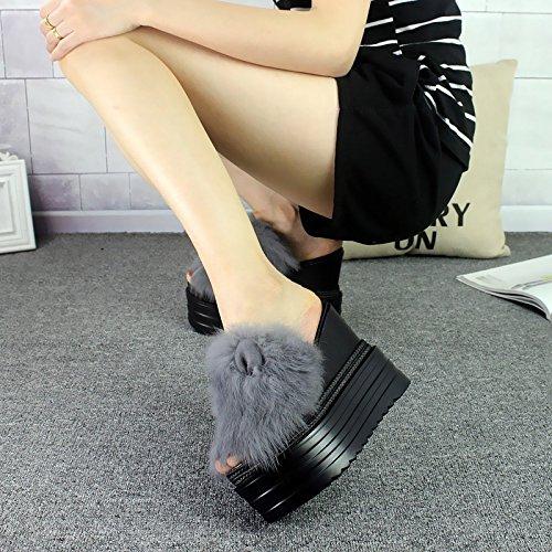 XiaoGao Fashionable high heel zapatillas con fondo grueso talud y zapatos de mujer,Gray