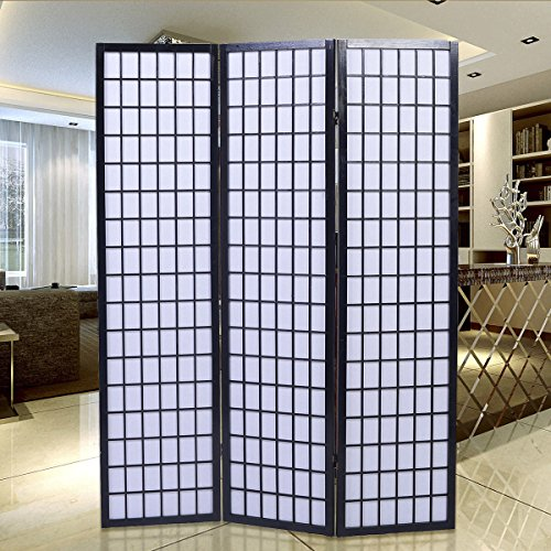 Giantex 3-Panel Room Divider Solid Shoji Wood Folding Privacy Screen Black (Shoji Screen Wood)