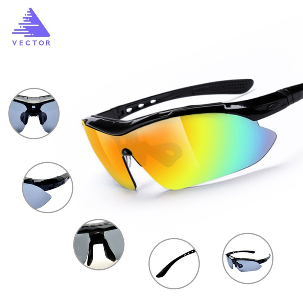 57ff472378c Amazon.com  Sunflower Polarized Sports Sunglasses With 5 Interchangeable  Lenes for Unisex Cycling Running Driving Fishing Golf Baseball Glasses   Sports   ...
