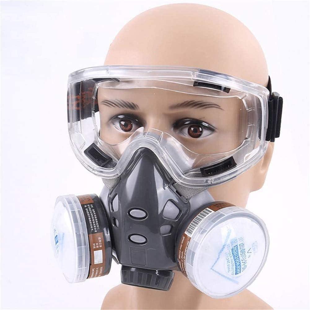 AN Respirador de Media Cara Polvo Máscara de Gas para Pintar Spray Pesticida Humo químico Protección contra Incendios con Gafas de Seguridad 22 Piezas Filtro de algodón