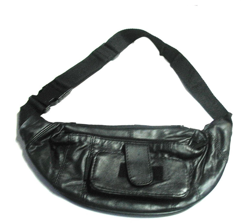 Fanny Pack Waist Bag Belt Bag (Black Lambskin Leather)