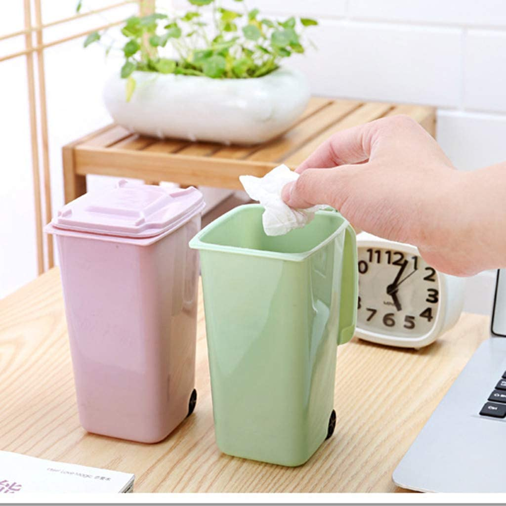 Mini Plastic Trash Can Wheeled Storage Bin Desktop Organizer Pen Pencil Holder Rubbish Container Mesh Waste Basket Storage Basket Organizer