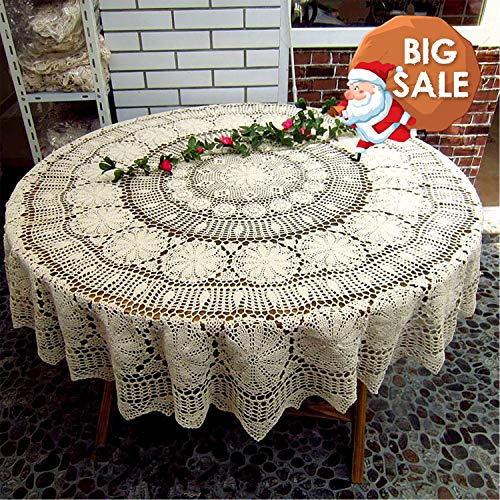 USTIDE Handmade Crochet Round Lace Tablecloth Round Tablecloth Beautiful Cotton Lace Knitted Wedding Table Overlays