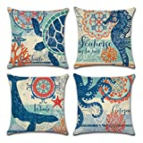 Ocean Theme Square pillow case U-LOVE Mediterranean Style...