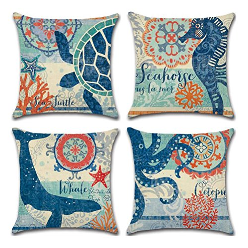 (ULOVE LOVE YOURSELF Ocean Theme Square Pillow Case Mediterranean Style Decorative Cotton Linen Throw Coastal Cushion Cover Sets 18 X 18 Inch Pillow Covers, 4 Pack Nautical Pillow Covers (Sea Theme-2))