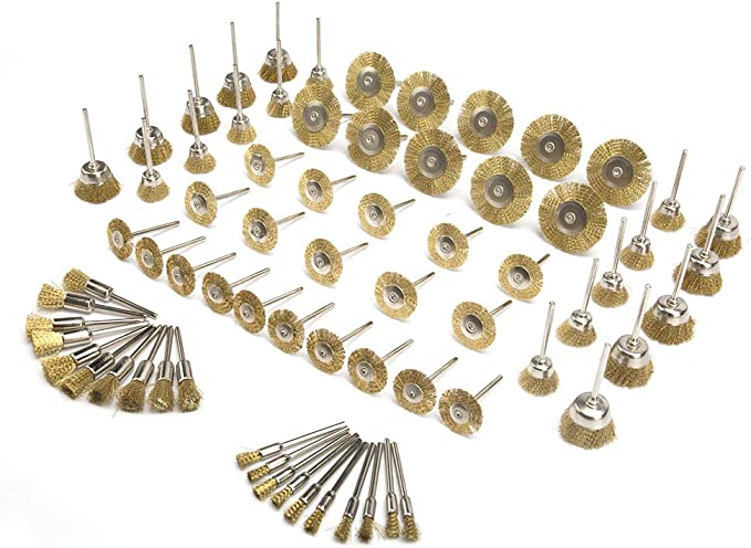 NGe 3//4 Small Brass Cup Brushes Set Polishing Cleaning Brush Kit Mini Brass Wire Brushes Set for Drill Grinder Rotary Tools 10Pcs