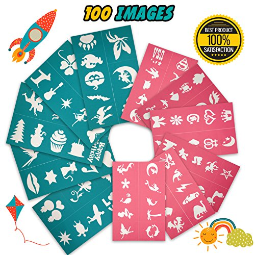 Tekameka Face Paint Stencils Kit 100 Pieces, Large Medium Small Reusable, Thick Body Painting Stencil - Great for Birthdays, Fundraisers, Halloween, Christmas Party]()