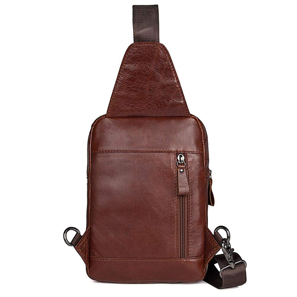 8f7670167b5 Amazon.com  Ybriefbag Outdoor Sports Men Genuine Leather Chest Bag Leisure  Sports Bag Business Travel Package Shoulder Bags Carry-on Backpack Chest  Pack ...