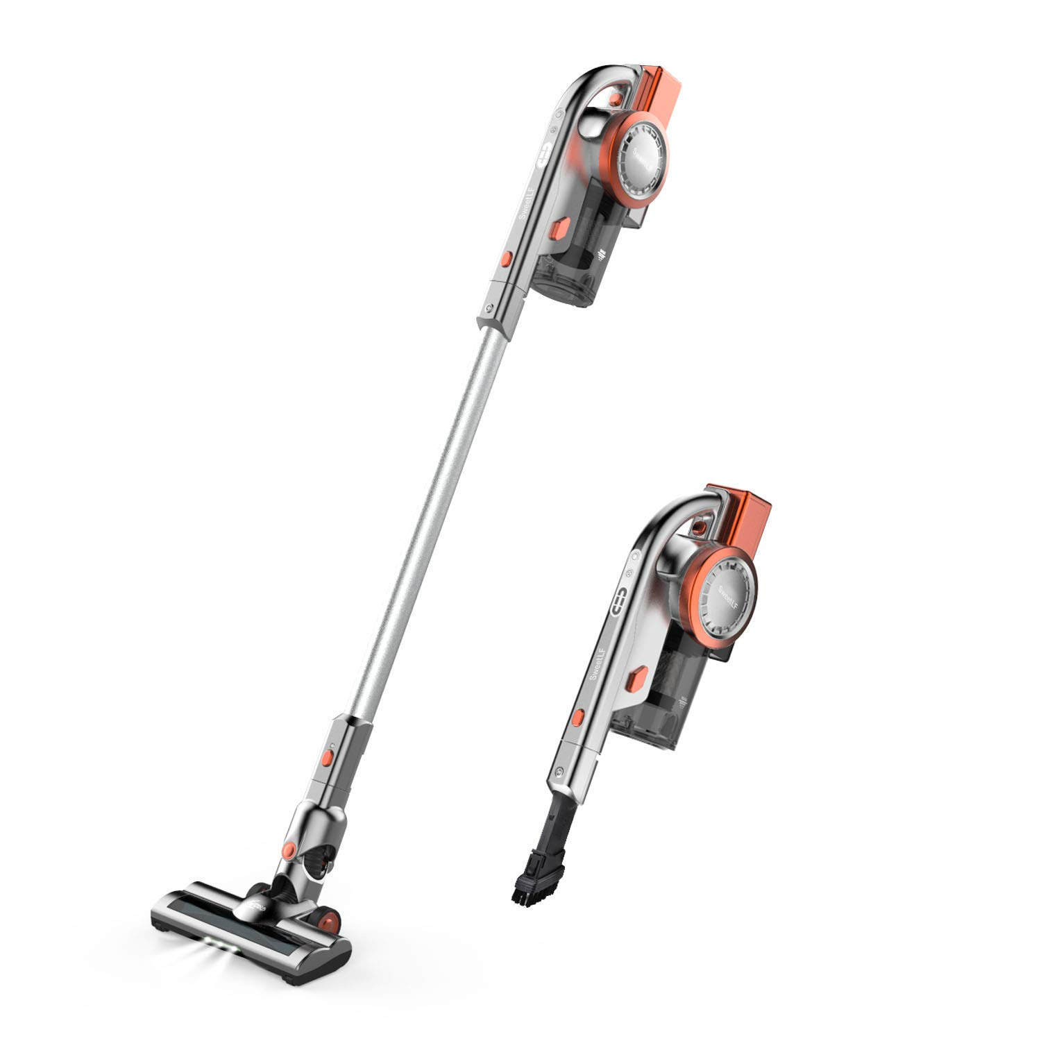 Cordless Vacuum Cleaner, 2 in 1 Stick and Handheld Vacuum Cleaner Lightweight Bagless Vacuum with 10Kpa Powerful Suction, LED Brush and Wall-Mount by E-rising