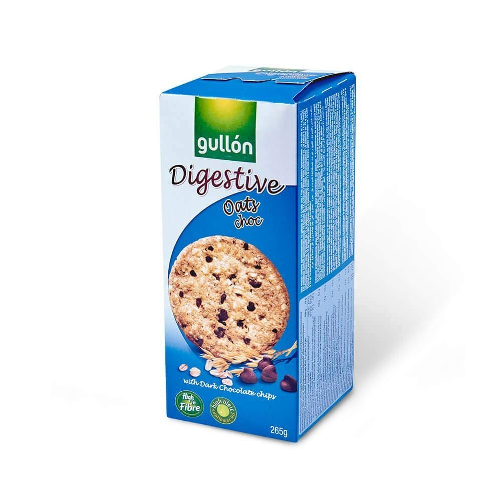 Gullon Oat and Choco Digestive Cookie Biscuits - with Dark Chocolate chips - 15 oz