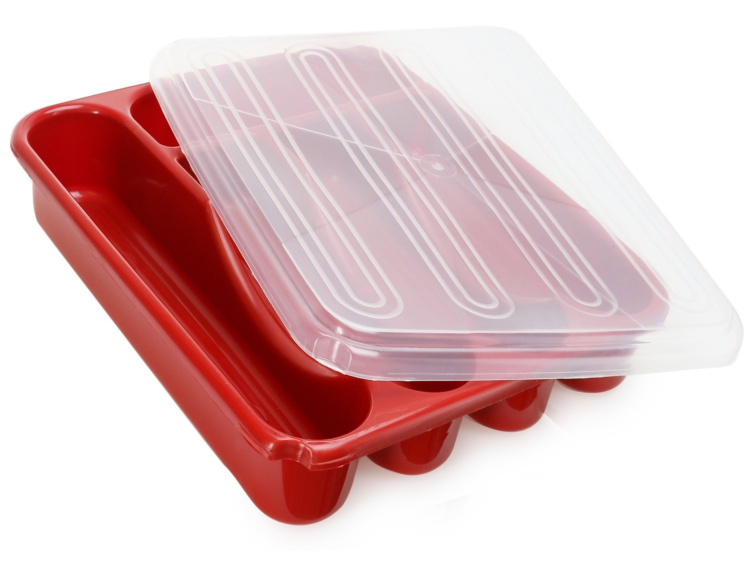 Black Flatware Plastic Tray with Lid Kitchen Cutlery and Utensil Drawer Organizer Container with Covered Top
