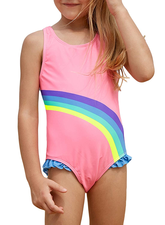 TenMet Little Girls One Piece Pink Flamingo Swimwear Short Sleeve Swimming Bathing Suit