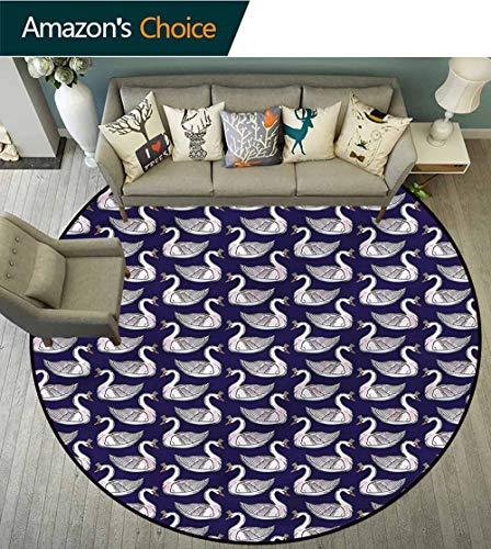 RUGSMAT Swan Modern Machine Washable Round Bath Mat,Pink Waterfowls Tiaras Floor Mat Home Decor Diameter-59