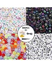 800 Stks 4 Kleur Acryl Alfabet Letter Kralen A-Z Cube Kralen met 1 Draad Cutter 1 Zwart Koord en 1 Zijde Draad voor Sieraden Maken Kids DIY Ketting Armband (6mm)