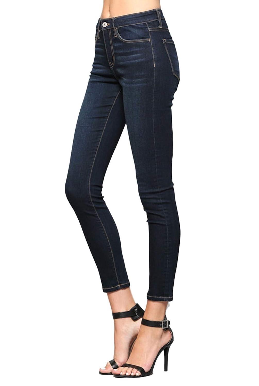e686b7dfe59 Vervet by Flying Monkey Blue Hops Mid Rise Dark Wash Super Soft Ankle Skinny  Jeans VT274 at Amazon Women s Jeans store