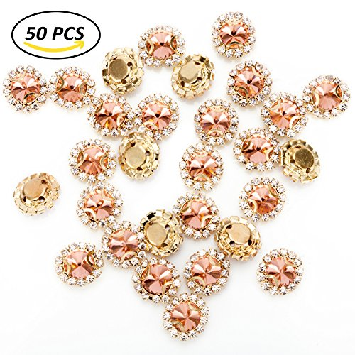 Premium Crystal Rhinestones Sew on, 50Pcs Bright Flatback Beads Buttons with Diamond, DIY Craft Perfect for Clothes Garment, Clothing, Bags, Shoes, Dress, Wedding Party Decoration (Rose - Package Ab Premium