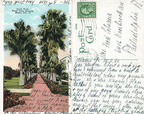 MIAMI FL ROYAL PALM GROUNDS SOUTH WALK ANTIQUE POSTCARD