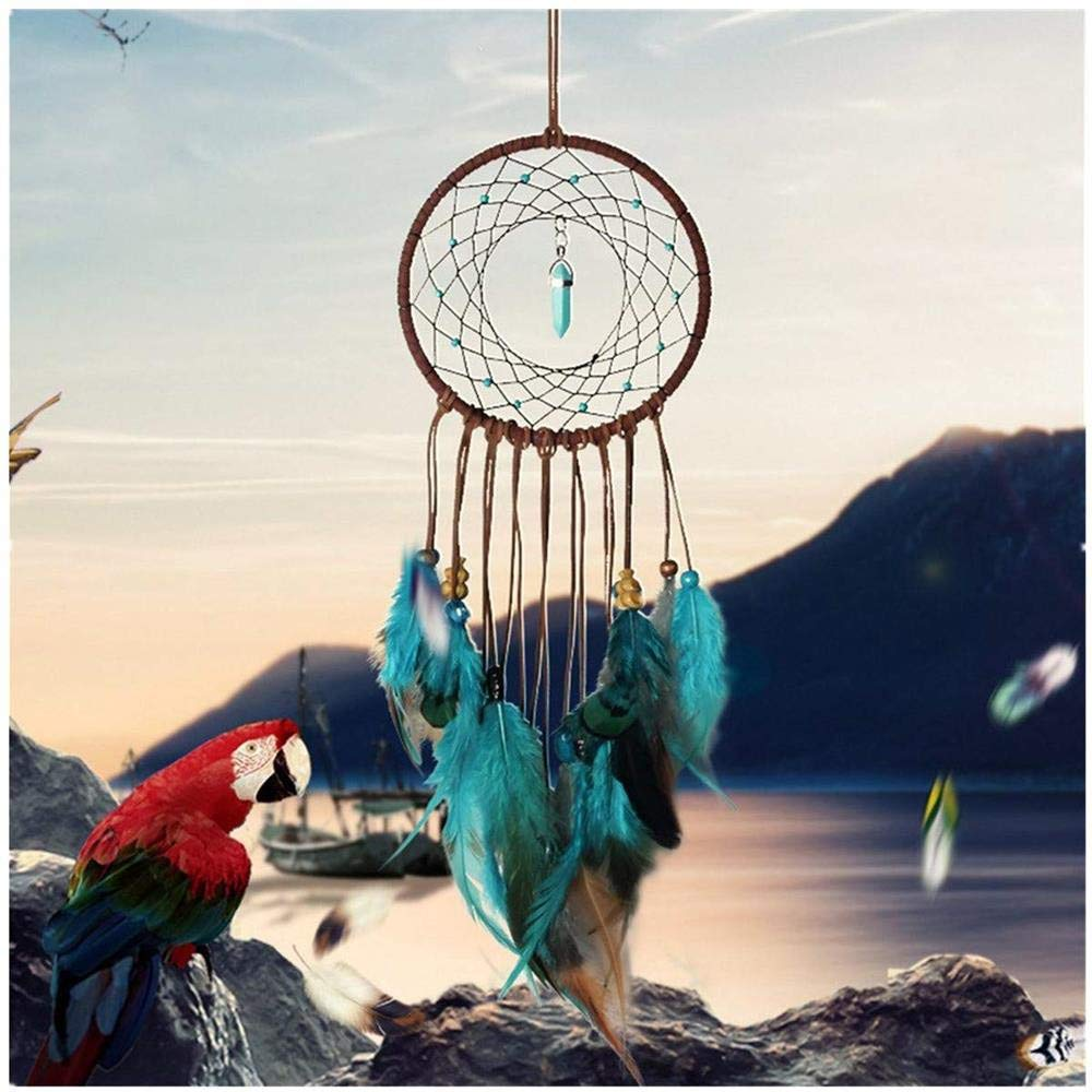 YUYOUG Dream Catcher Handmade, Colorful Circular Net with Feathers Beads Turquoise Dreamcatcher for Wall Car Hanging Decoration Ornament Craft Girl Birthday Gift Baby Room Decor