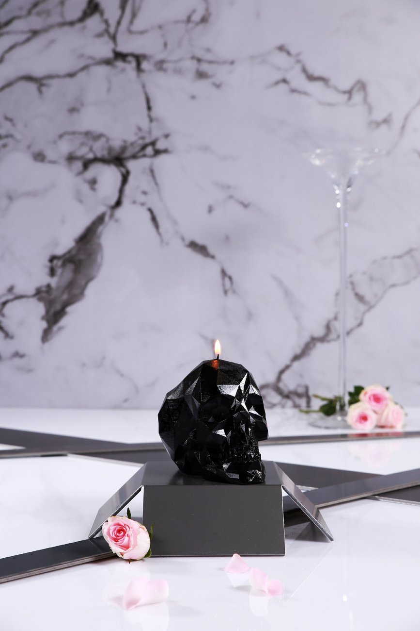 Candellana Candles 5902650675353 Skull Poly Candle, Black High Glossy