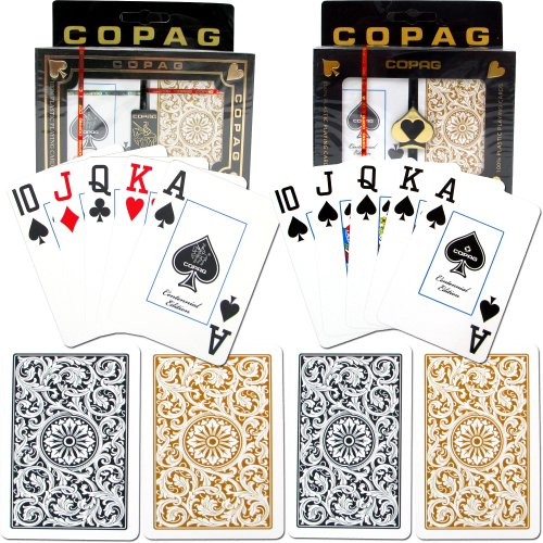 Copag Poker and Bridge Jumbo Index - 1546 Black/Gold Set Of 2 Cards by Copag