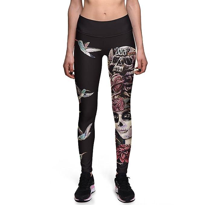 049996f4344 Fanii Quare Women s High Waist Ankle Leggings Digital Print Skinny Active  Yoga Pants Bird Skull S