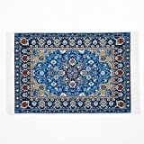 #4: Odoria 1:12 Blue Floral Print Vintage Woven Carpet Rug Blanket Miniature Dollhouse