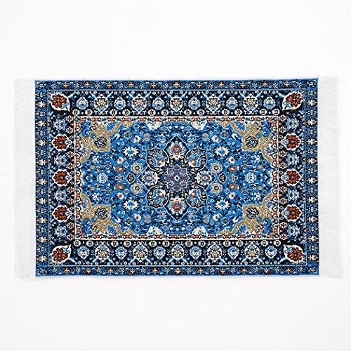 Odoria 1:12 Blue Floral Print Vintage Woven Carpet Rug Blanket Miniature Dollhouse from Odoria