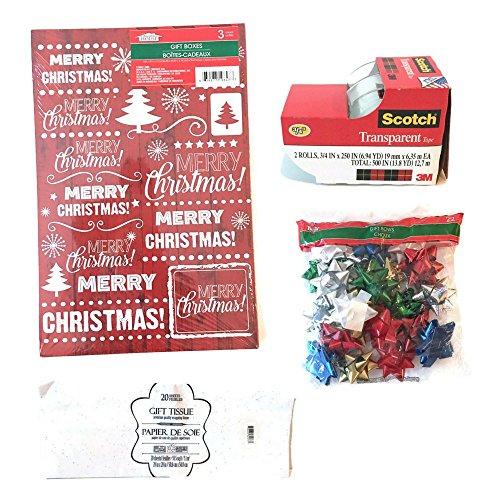 [Assorted Christmas Gift Boxes Bundle: 47 pieces Includes gift boxes, gift tissue, gift bows, and] (Car Costume Cardboard Box)