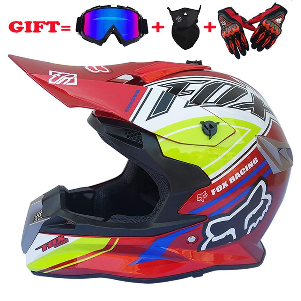 Adult Off-Road Helmet, DOT Motocross ATV Helmet/Goggles-Mask-Gloves/ATV/Red Fox Pattern/Endurance Race