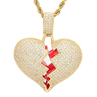 AOVR Hip Hop Twist Chain 18k Gold Plated CZ Fully Iced-Out Broken Heart Pendant
