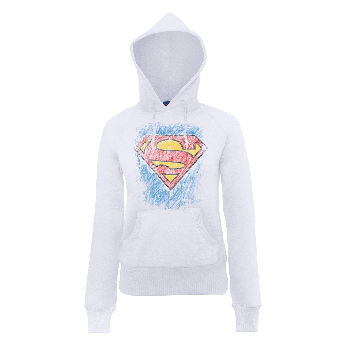 Womens Comics Dc Logo Sweatshirt Superman Hooded Crayon Official qgzwdTOz