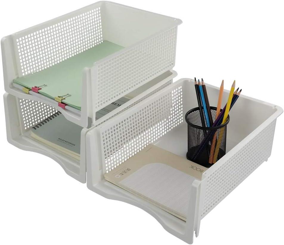 Vareone Organizador de Documentos Bandeja de Archivos Portadocumentos Apilable, Color Blanco, Tamaño A4, 3 Niveles
