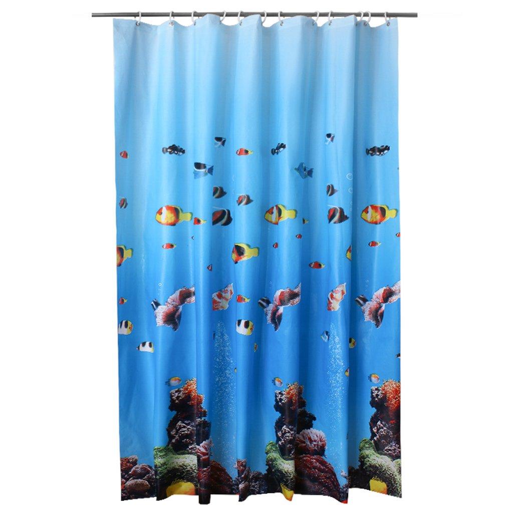 Curtain Bathroom Shower Curtains, Mildew Waterproof Shower Curtains, Thickening Shower Curtains, Underwater World Design Shower Equipment (Size : 200200cm)