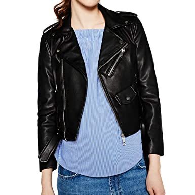 78297bc58df Women s Trendy Stand Collar PU Leather Moto Jacket Leather Coat at ...