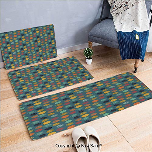 FashSam 3 Piece Flannel Bath Carpet Non Slip Geometrical Sketchy Abstract Image with Colorful Circles Jade Green Backdrop Front Door Mats Rugs for Home(W15.7xL23.6 by W19.6xL31.5 by W15.7xL39.4)
