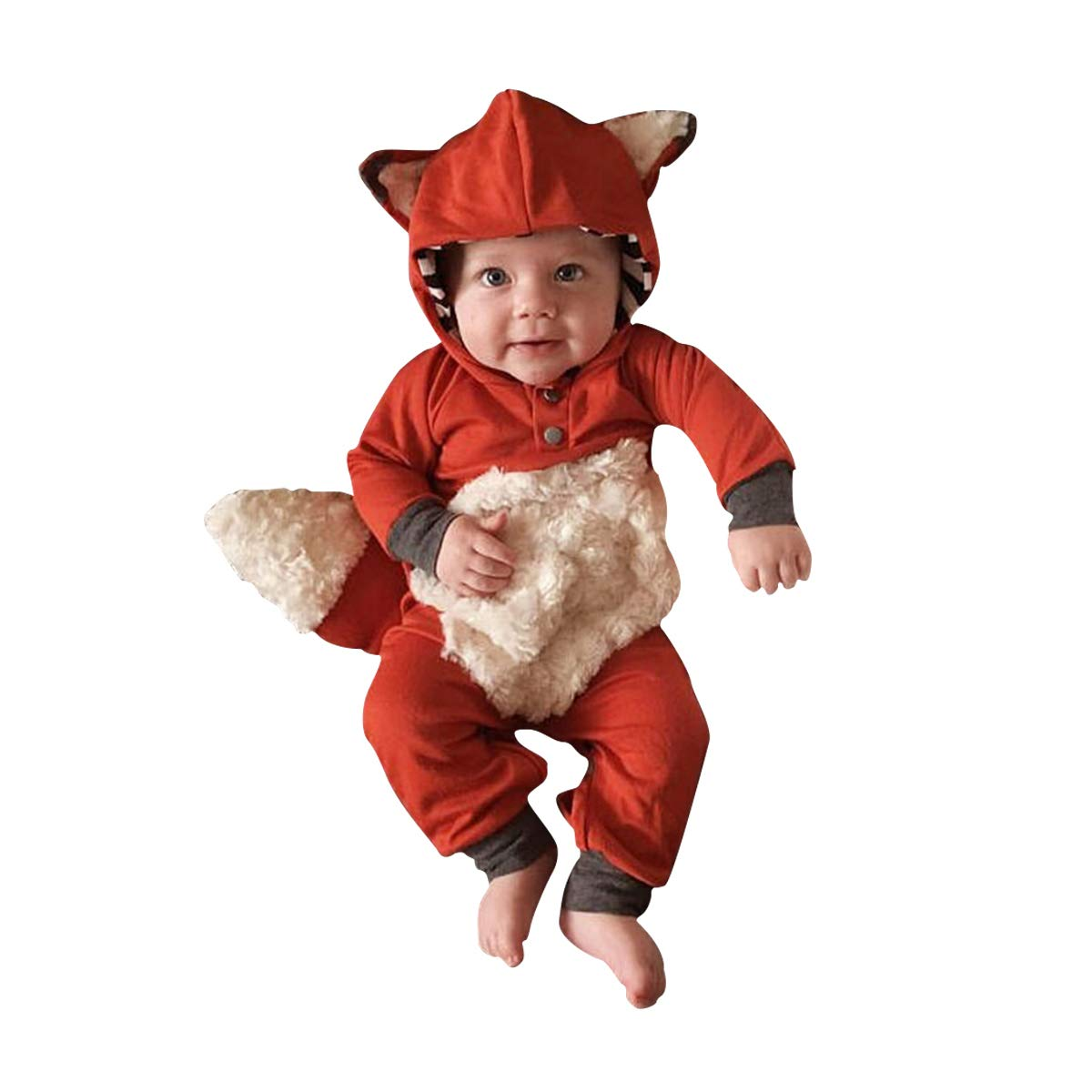Newborn Baby Girl Boy Halloween Cosplay Cartoon Clothes Fox Coat Fur Bodysuit Jumpsuit Hooded Playsuit Romper Overall Outfit