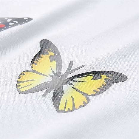 ZFQQ Sommer Damska Schmetterlingsdruck Rundhalsausschnitt lässig Plus Größe T-Shirt Top: Odzież