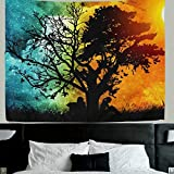 HMWR Magical Love Tree of Life Tapestry Wall Hanging Psychedelic Forest in Star Moon Night and Sun Day Art Tapestries Throw Cottage Dorm bedroom Art Home Decor 60x51 Inch